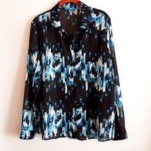 Derek Lam For Design Nation Womans Blue White Floral Blouse Button Front L - $22.65