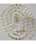 SOLID 18K YELLOW GOLD FLAT BRIGHT KITE CHAIN 18 INCHES, 2.2 MM MADE IN I... - $152.95