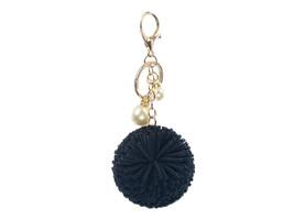 Colorful Faux Leather Pom Pom Handbag Accessory Key Chain w/ Pearl Charm - $12.95