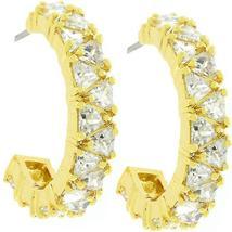 Trillion Cut Cubic Zirconia Hoop Earrings Goldtone Finish - $46.00