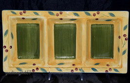Maxam Sonoma * 3-SECTION RELISH TRAY * Olives, Leaves, Gold, Tuscan-Styl... - $15.99