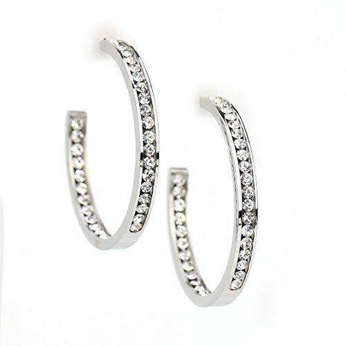 UNITED ELEGANCE Stiking Silver Tone Hoop Earrings With Swarovski Style Crystals