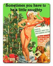 Naughty Mail Girl Christmas Present Vintage Style Holiday Pin Up Metal Sign - $24.95