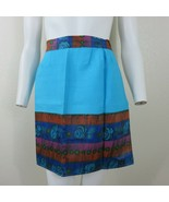 Vintage Home Made Small Hostess Apron Blue Accent Fabric 3 Pockets New O... - $29.65