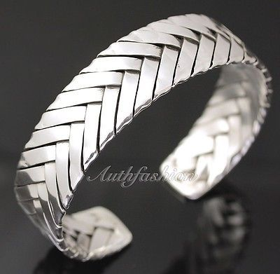 Mens Sterling Silver Bracelet Woven Braided Bangle Cuff Handcrafted Hip Hop b23
