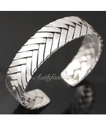 Mens Sterling Silver Bracelet Woven Braided Bangle Cuff Handcrafted Hip ... - $331.45