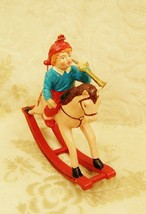 Silvestri Christmas Tree Ornament Old World Boy Horn Rocking Horse Vintage - $18.80