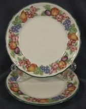 Epoch Market Day E801 Salad Plates Lot of 2 Baroque Shape Fruit Border G... - $17.95