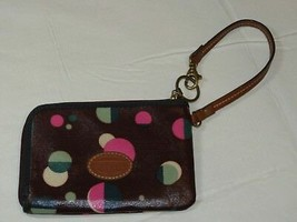 Fossil Wristlet zip around wallet card id coin Wine with Dots Pre-owned ^ - $18.70