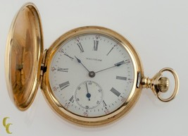 14k Yellow Gold Waltham Full Hunter Pocket Watch 15J Size 6S Seaside 1900 - $1,232.25