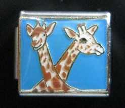 Two Giraffes Italian Charm Modular Link fits Nomination Classic Bracelet 9mm - $4.67