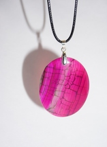 Pink and Black, Agate Gemstone, Lightweight Necklace, Pink Jewelry - $12.00