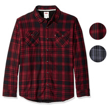 Levi's Men's Thorton Sherpa Lined Flannel Plaid Long Sleeve Button Shirt Jacket image 1