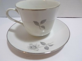 Royal Court Fine China Flat Cup Saucer AND CUP GREY ROSE Flower Japan SI... - $19.79