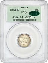 1913-S 10c PCGS/CAC MS64 (OGH) - Old Green Label holder - Barber Dime - $2,725.70