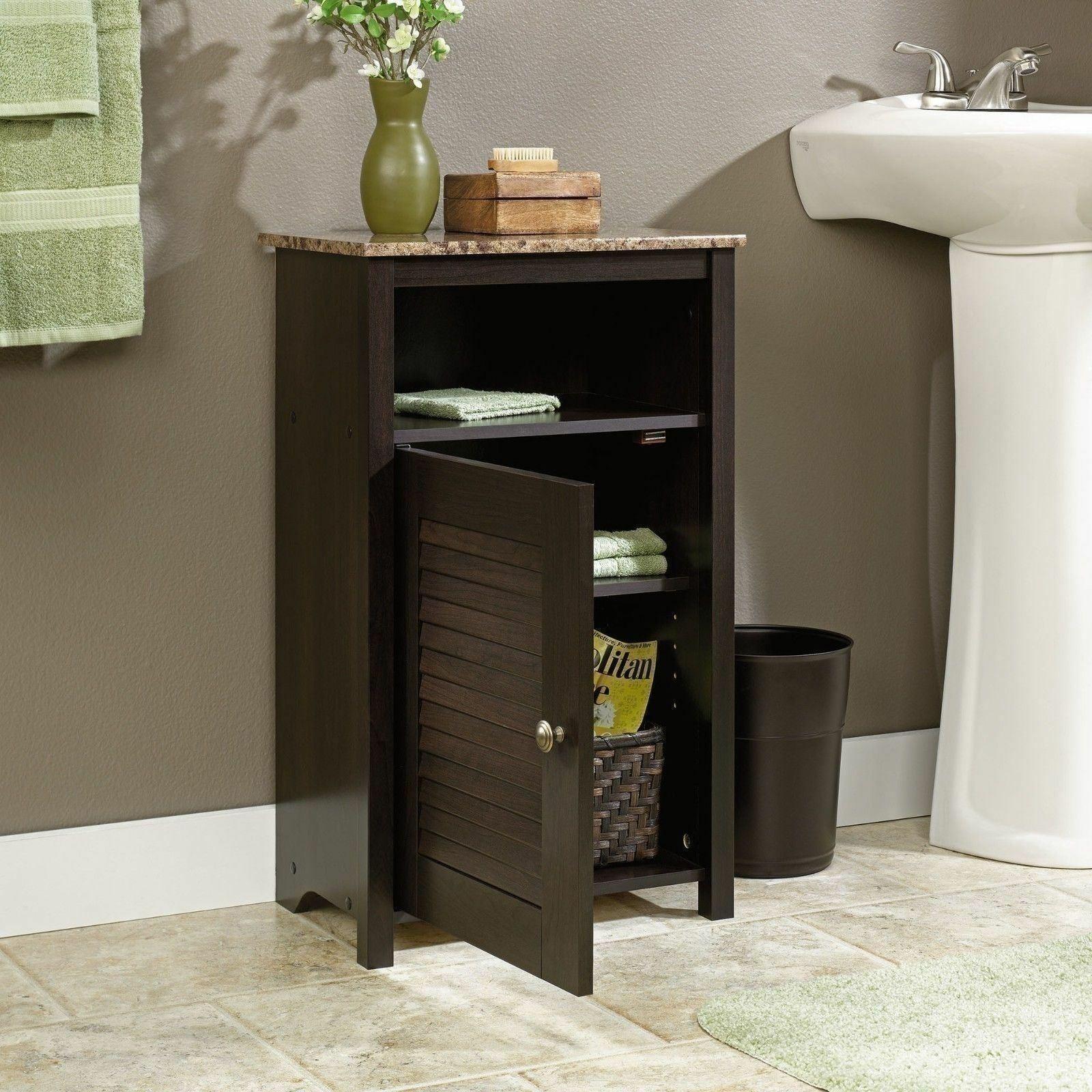 Dark Brown Bathroom Floor Cabinet Wooden Storage Organizer Towel Linen Shelves