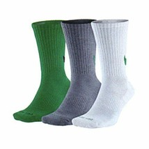 Nike Unisex 3PK Swoosh Crew Socks Green/Gray/White Large 8-12 SX4950-909 - $24.99