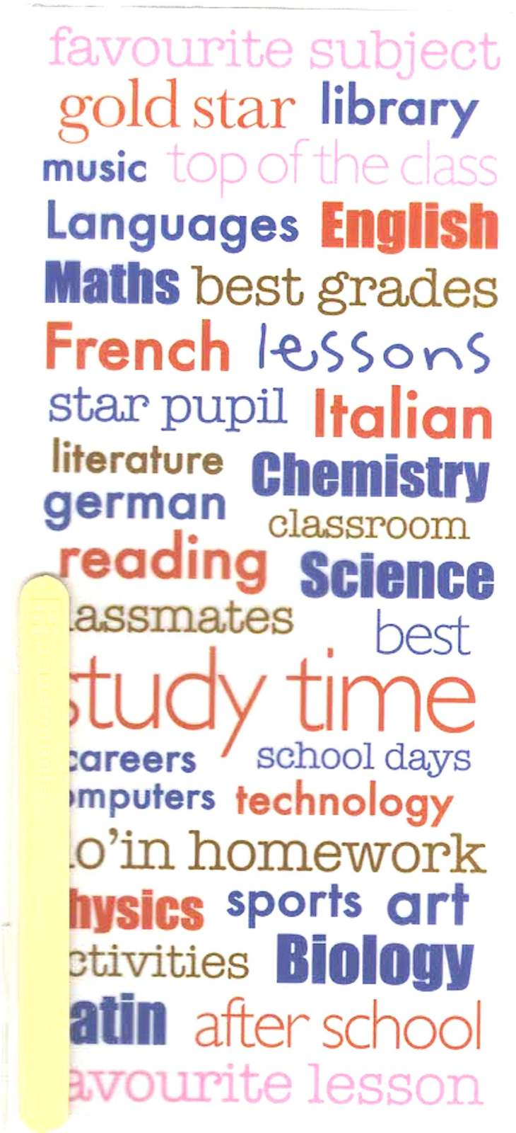 all school lessons craft sheet of peel off / rub off stickers  ideal cards, pape