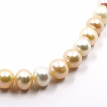 Necklace, Closing Yellow Gold 18k, Pearls Large, 10 mm, White, Fishing, Pink image 2