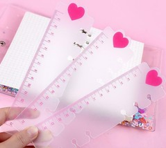 Aikeen® Cute A5A6 Transparent PP Ruler Pink Heart Style Loose Leaf Spira... - $3.51+