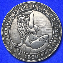 "Beach Girl ""Hobo Nickel"" on Morgan Dollar Coin ** - $4.79"