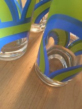 Set of 4 Mint Condition Vintage 60s Colony blue/green rainbow collins glasses image 4