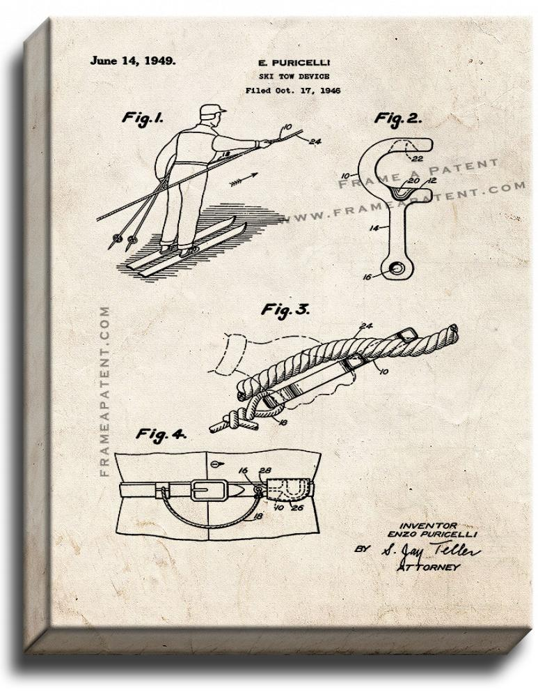 Primary image for Ski Tow Device Patent Print Old Look on Canvas