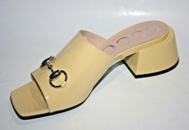 $890 NIB Gucci Lexi Horsebit Patent Leather Slides Mid-Heel Sandals Pump... - $395.01