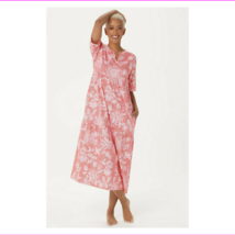Stan Herman Stamped Floral Cotton Gown, Coral, XS - $12.10
