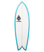 "Paragon Retro Fish 5'10"" White -Turquoise Rails Surfboard - $400.00"