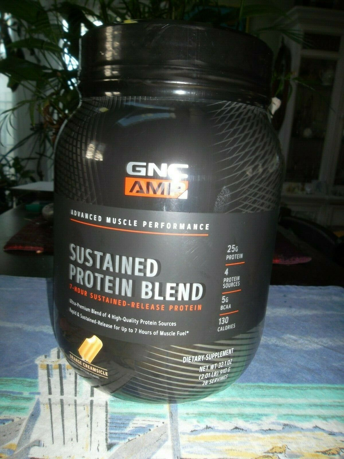 GNC AMP Sustained Protein Blend - Orange Creamsicle, 28 Servings, High-Quality - $37.62