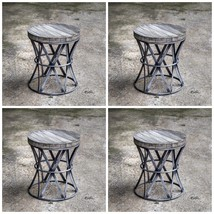 FOUR FORGED METAL & AGED MANGO WOOD TOP STOOL SEAT VINTAGE INDUSTRIAL ST... - £845.32 GBP