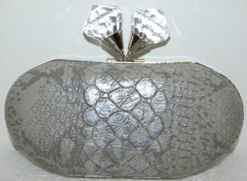 Ins Brand Grey Alligator Print Purse Large Clear Knob Clasp Snake Chain