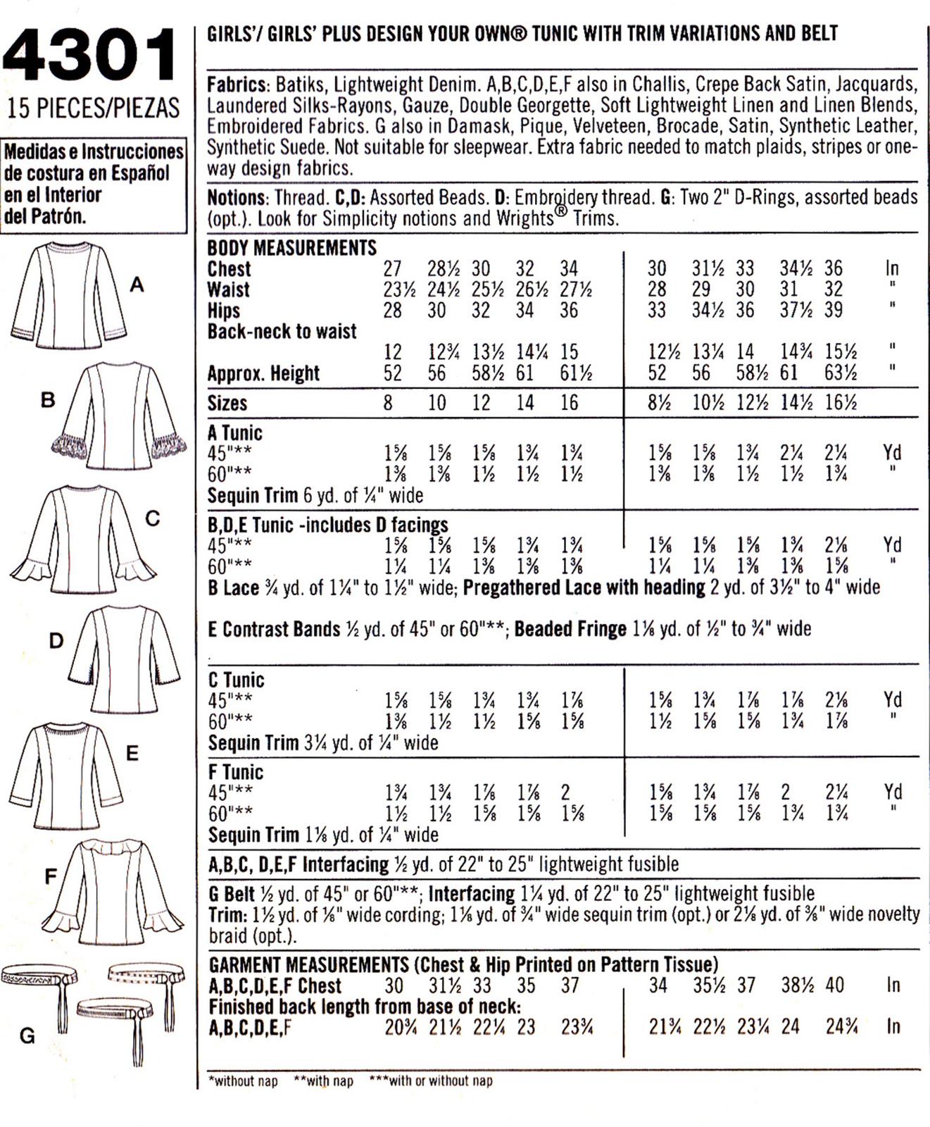 Simplicity 4301 Girls / Girls Plus Sewing Pattern Childrens Shirts Size 8-16 1/2