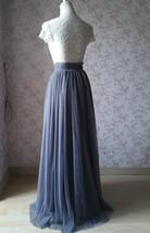Grey Split Tulle Skirt Grey Long Tulle Skirt One Side High Split Tutu, US0-US30 image 4