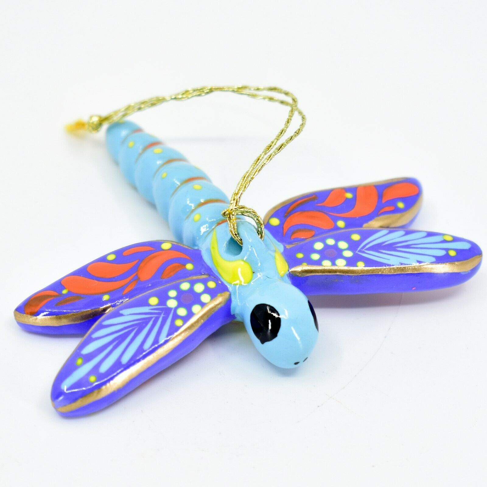 Handcrafted Painted Ceramic Dragonfly Confetti Ornament Made in Peru