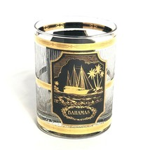 Vintage Culver Glass Bahamas 22K Gold Palm Trees Ship Island Barware - $19.54