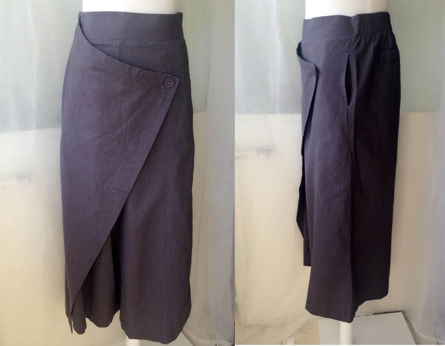 GRAY LINEN PANTS Casual Loose Wrap Pants Wide Leg Pants Trousers One Size NWT