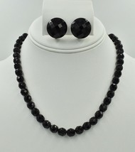 Vintage Czech Black Faceted Glass Bead Single Necklace Button Earrings S... - $39.56