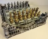 METAL PEWTER ROMAN GLADIATOR MEDIEVAL TIMES Chess Set W Glass / Resin Board