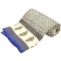 traditional fabrics Indian Handmade Jaipuri Rajai Throw Reversible Kanth... - $60.83