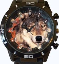 Staring Grey Wolf Trendy Sports Style Unisex Gift Watch - $34.99