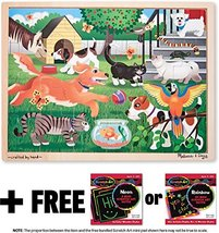 Pets at Play: 24-Piece Jigsaw Puzzle + FREE Melissa & Doug Scratch Art Mini-Pad  - $13.61
