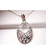 Celtic Oval Necklace 925 Sterling Silver Corona Sun Jewelry - $23.75