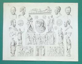 GREEK & ROMAN ART Statues Coins Amazon Pallas Serpent - 1844 Antique Print - $22.46