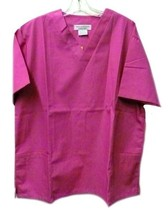 Scrub Top V-Neck L 2 Pocket Deep Pink Natural Uniforms Women's Cotton Bl... - $19.37