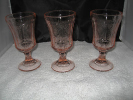 "(3) Indiana Glass ""Madrid"" Recollection Pink Footed Goblets - $9.99"