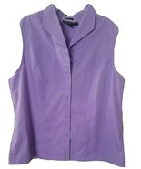 Jones New York Size 16 Ladies Lilac Purple 100% Cotton Sleeveless Campshirt - $9.90