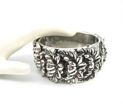 VARGAS Hinged Bangle Bracelet, Repousse, Antiqued Silver, Mid-Century, F... - $46.00