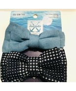 Petco Dog Bow Ties Set Of 2 - Denim And Star Dots NEW! - $9.49